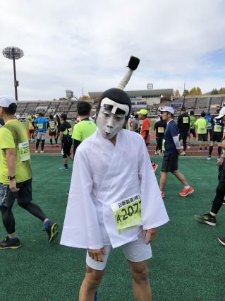 天童ラフランスマラソン2019 こんな仮装で走ってきました=